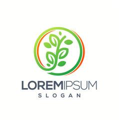 circle leaf logo design vector image