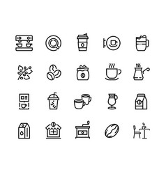 coffee line icons beans take out cups and mugs vector image