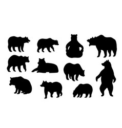 Collection of bear silhouettes in various poses vector