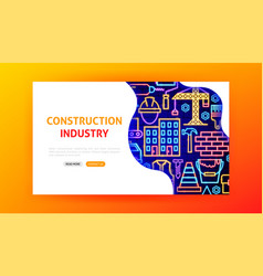 construction industry neon landing page vector image