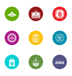 Coupon code icons set flat style vector