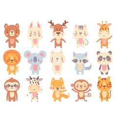 cute cartoon animals waving giraffe funny farm vector image