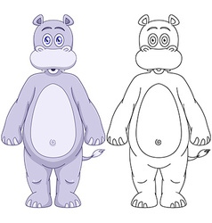 Cute Humanoid Hippo With Lineart vector