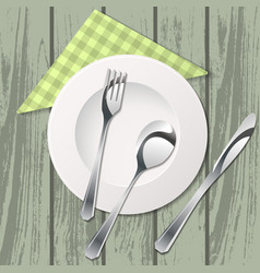 Cutlery on table with tissue vector