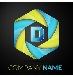 D Letter colorful logo in the hexagonal on black vector image