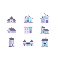 different buildings houses residential facade set vector image
