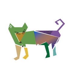 dog in cubism style vector image