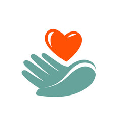 Donation charity logo or label hand holding vector