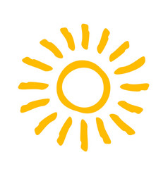 drawn yellow sun light summer hot symbol vector image