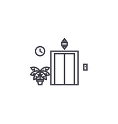 elevator entrance line icon sign vector image