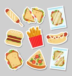 fast food set sticker for luncheonette menu design vector image