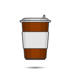 figure paper cup for coffee with a plastic lid vector image