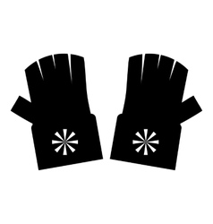 Fingerless gloves with snowflake icon simple style vector