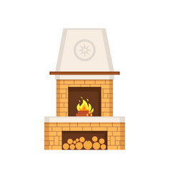 Fireplace made of brick construction with chimney vector