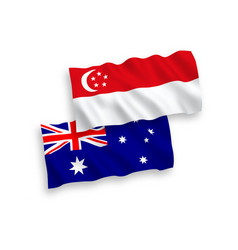Flags australia and singapore on a white vector