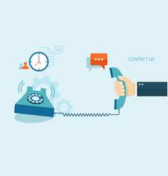 flat of contact us with icons vector image