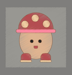 Flat shading style icon kids mushroom vector