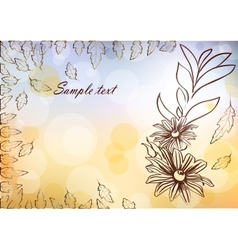 Floral card with glittering lights and silhouette vector image