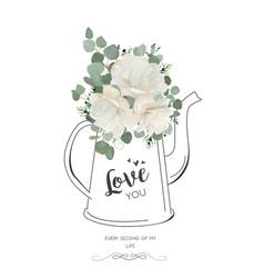 floral elegant card design white rose peony vector image vector image