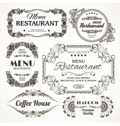 Floral restaurant labels vector