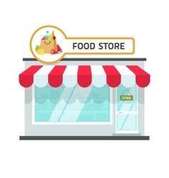 Food store building grocery vector