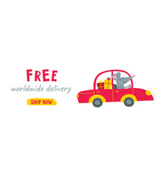 free delivery website banner with cute rat vector image