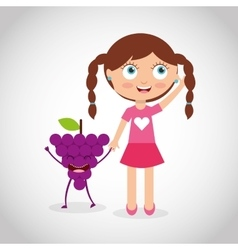 Fresh fruit with kid comic character vector