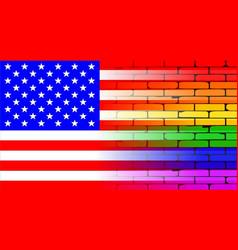 Gay rainbow wall american flag vector