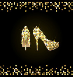 Gold shiny high-heeled shoes vector