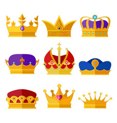 golden crowns kings prince or queen vector image