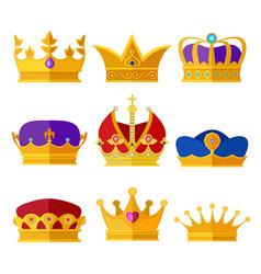 Golden crowns of kings prince or queen vector