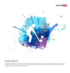 Golf player icon - watercolor background vector