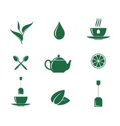 Green tea icon set vector