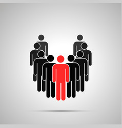 group workers silhouette with leader simple vector image