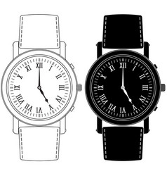 Hand watch with roman numeral clock face vector