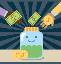 Hands pouring money in jar glass kawaii charity vector