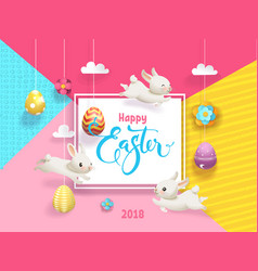 happy easter card decorated eggs hanging on vector image