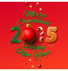 happy new year 2015 greeting card and merry vector image