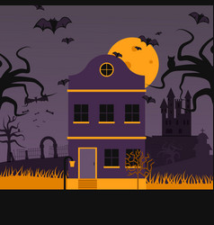 haunted house on halloween night vector image