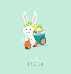 hello easter with white easter rabbit vector image