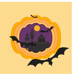 helloween paper cut with haunted and scary castle vector image