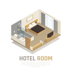 hotel room isometric composition vector image