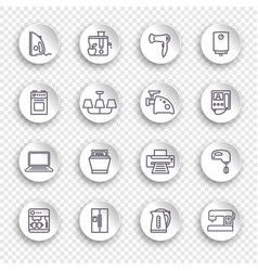 icons household appliances on round stickers vector image