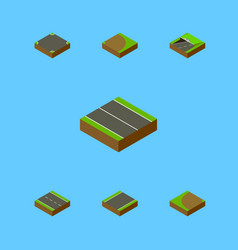 isometric way set of crossroad rotation vector image