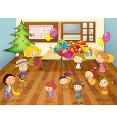kids dancing in classroom vector image