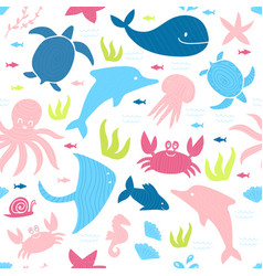 kids style seamless pattern with marine animals vector image