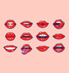 lips pop art stickers cool vintage comic girl vector image