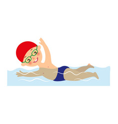 little boy in cap and goggles swimming in pool vector image