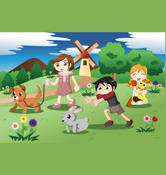 Little kids with pets in garden vector