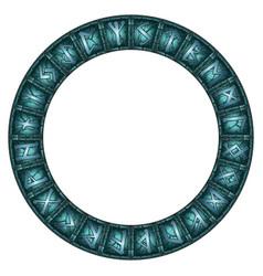 Magic circle of stone shining scandinavian runes vector
